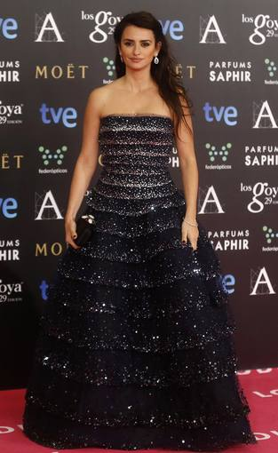 Spanish actress Penelope Cruz poses on the red carpet before the Spanish Film Academy's Goya Awards ceremony in Madrid