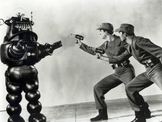 FORBIDDEN PLANET [US 1956]  Robby the Robot, WARREN STEVENS, LESLIE NIELSEN       Date: 1956